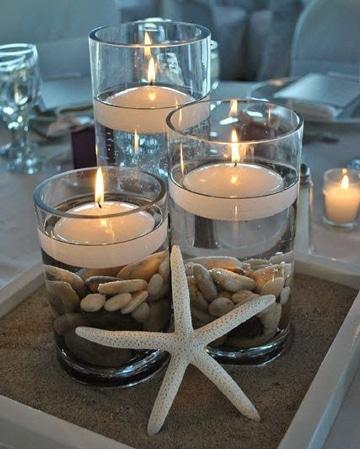 velas decoradas para boda estilo playero