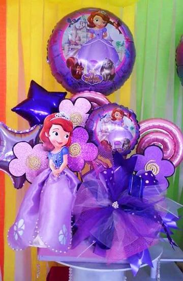 arreglos de la princesa sofia con globos