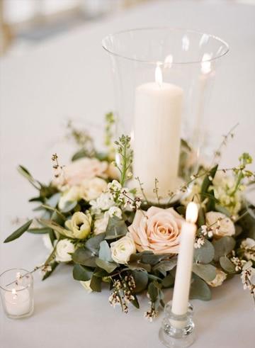 arreglos de mesa para boda civil con velas