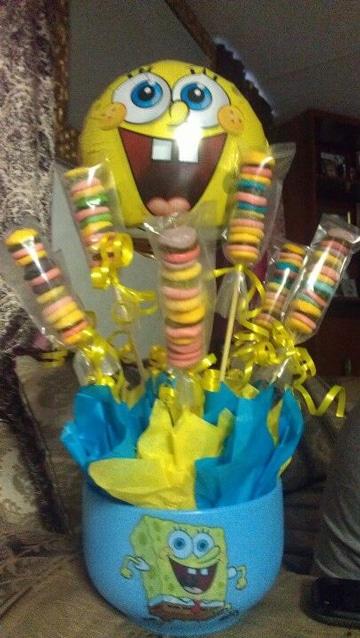 centros de mesa de bob esponja con dulces