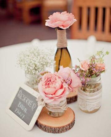 centros de mesa vintage para 15 años con flores