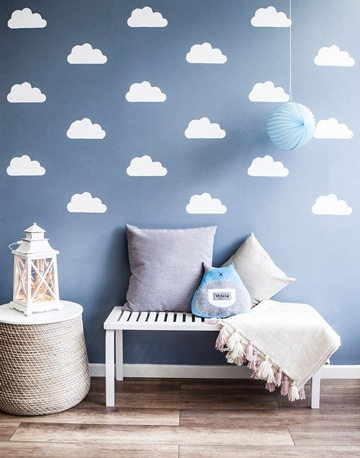 decoracion de paredes para bebes nubes