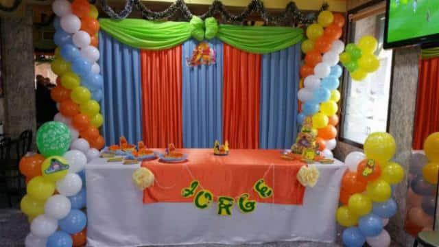 fotos decoracion en telas y globos infantil