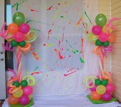 fotos decoracion en telas y globos sencillos