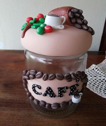 frascos de cafe decorados pequeños