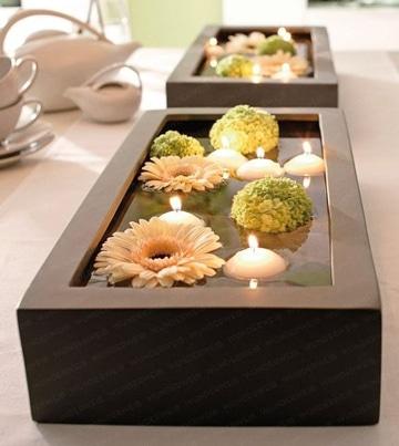 macetas para centro de mesa con velas