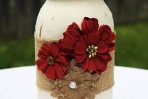 Reutilizar tarros de vidrio decorados para adornos