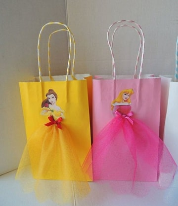 bolsitas de princesas para cumpleaños carton