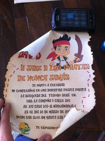 invitaciones de jake y los piratas para cumpleaños