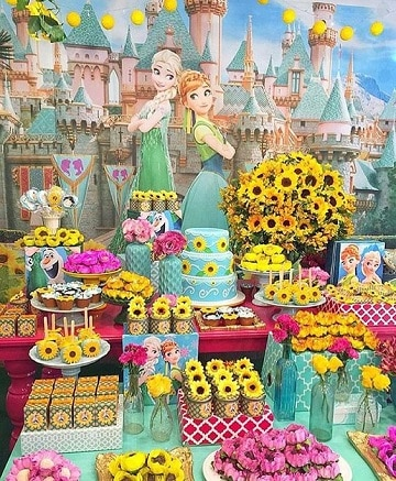 mesas decoradas de princesas frozen