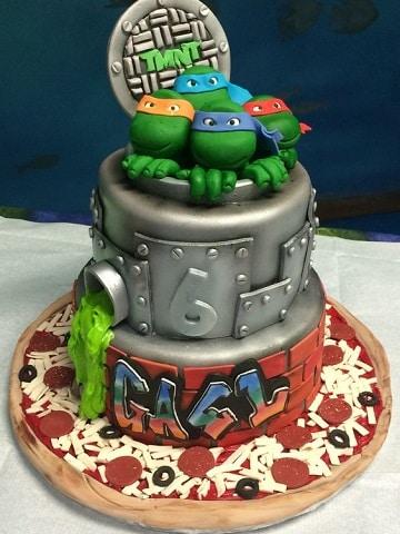 tortas de las tortugas ninjas dos pisos