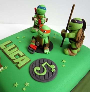 tortas de las tortugas ninjas fondant