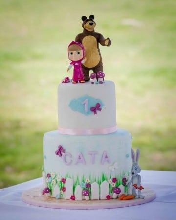 tortas de masha y el oso de fondant