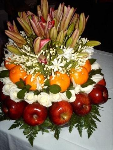 arreglos de frutas y flores ideas