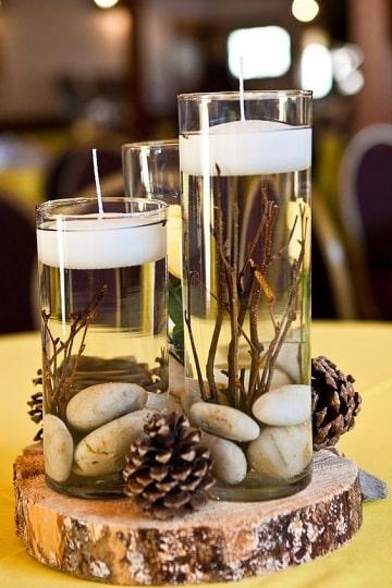 centros de mesa con agua y rocas
