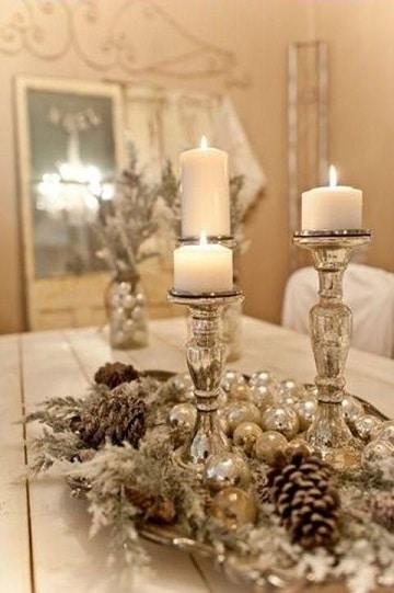 centros de mesa con candelabros para navidad