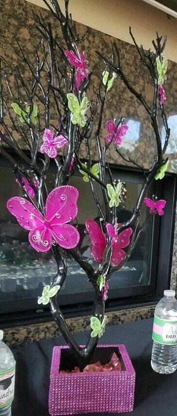 centros de mesa de mariposas para 15 años