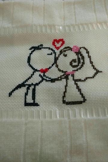 imagenes de servilletas para boda punto cruz