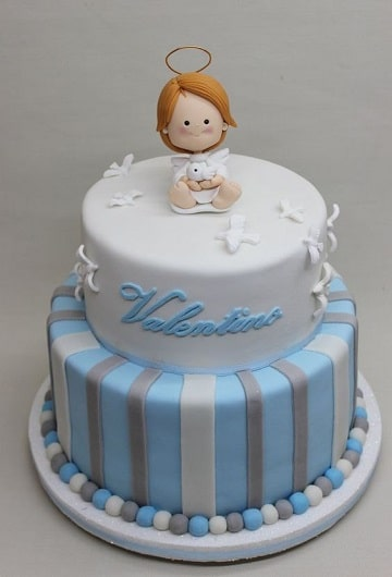 modelos de tortas de bautizo de dos pisos