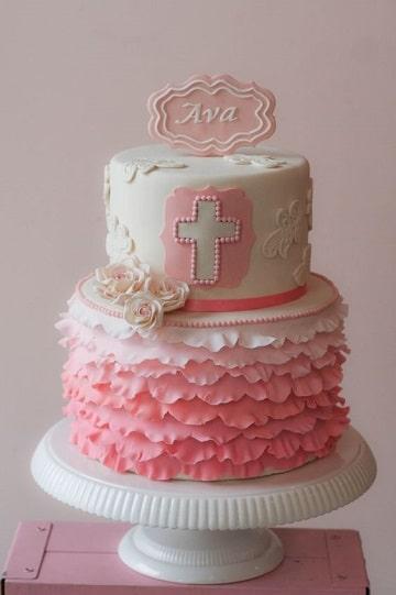 modelos de tortas de bautizo para niña