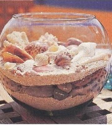 arreglos de mesa con peceras y arena
