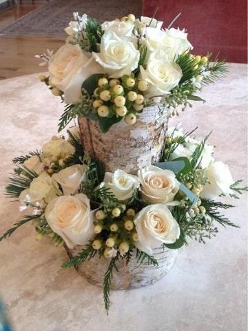 arreglos florales blancos rosas