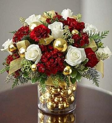 arreglos florales redondos de navidad