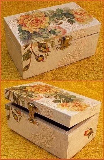 cajas decoradas con servilletas de madera