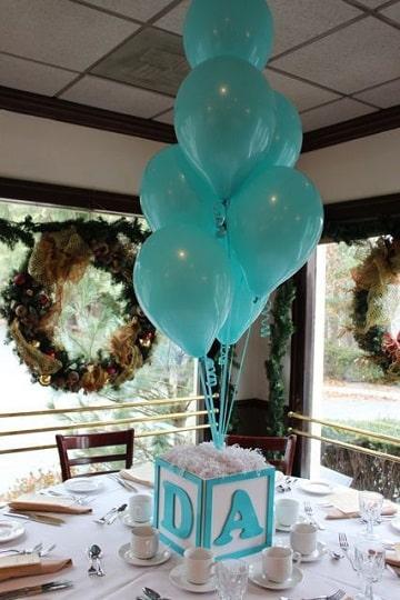 centros de mesa azules para baby showers