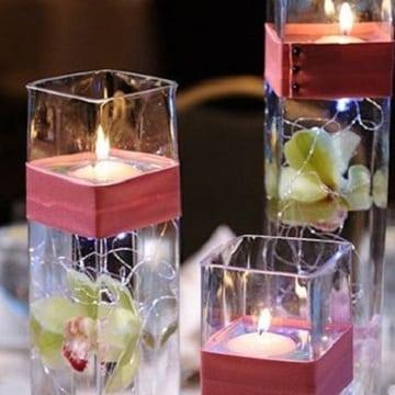 centros de mesa con luz de velas