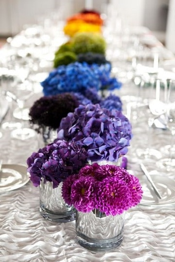 centros de mesa de colores pequeños