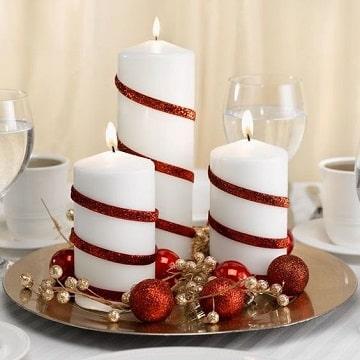 centros de mesa rojo y blanco para navidad