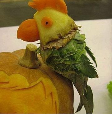 frutas decoradas para fiestas loro