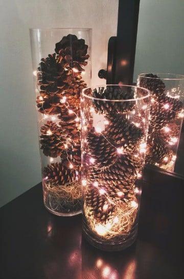 imagenes de arreglos navideños con piñas