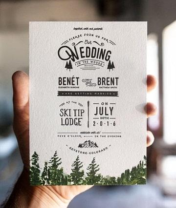 tarjetas de matrimonio civil de la naturaleza