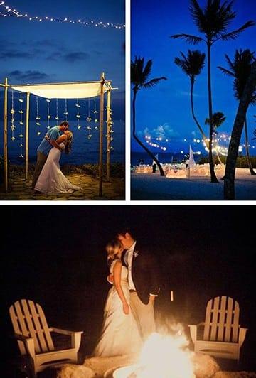 boda en la playa de noche con fogata