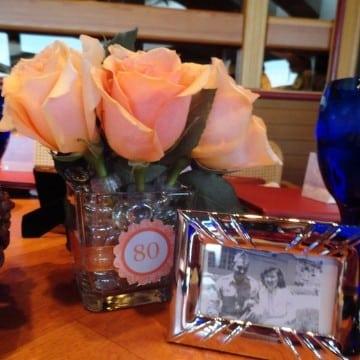 centro de mesa para 80 años para mujer