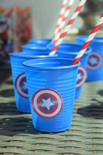 cumpleaños tematica capitan america decoracion de vasos