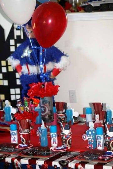 cumpleaños tematica capitan america decoracion