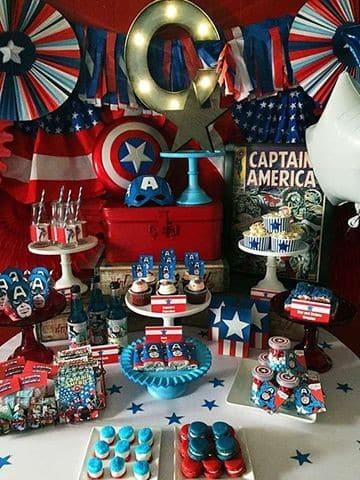 cumpleaños tematica capitan america para niños