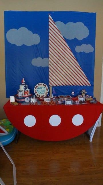 decoracion de cumpleaños de marinero para niños