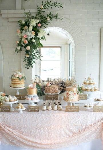 decoracion de mesa de dulces para boda delicada