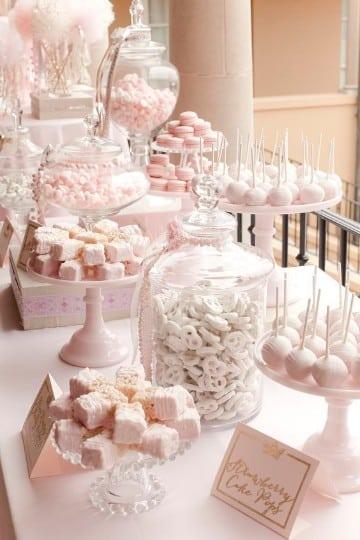 decoracion de mesa de dulces para boda en rosa