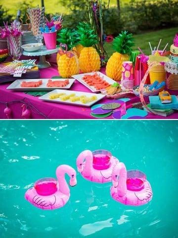 decoracion fiesta hawaiana en piscina original