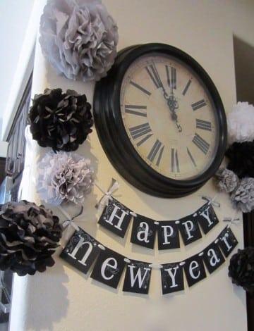 decoracion para año nuevo 2017 blanco y negro