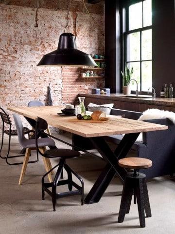 diseños de mesas de madera para comedor estilo industrial