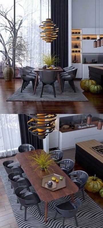 diseños de mesas de madera para comedor gris