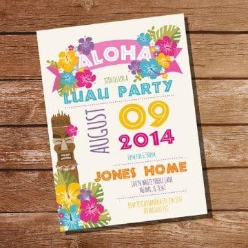 invitaciones fiesta hawaiana colorida
