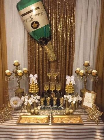 mesas decoradas para año nuevo para postres