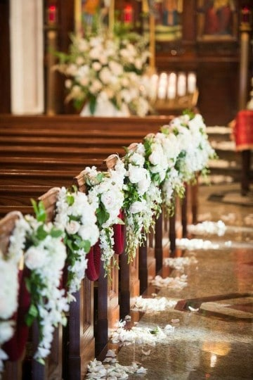 arreglos de flores para boda en iglesia elegante